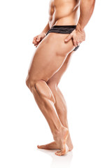 Strong Athletic Man Fitness Model Torso showing naked muscular b
