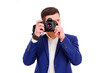 Male photographer with his camera isolated on white background