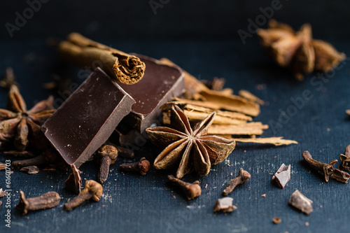 Cinnamon, star anise and chocolate