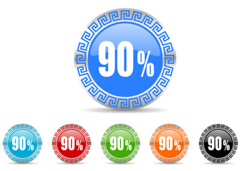 90 percent icon vector set