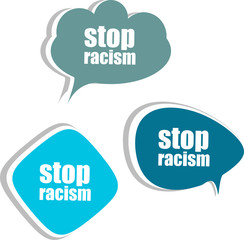 stop racism word on modern banner design template. stickers