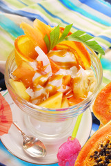 fresh fruits salad with papaya,banana,orange,pineapple and cocon