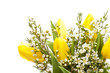 Bouquet of yellow tulips in vase on white, selective focus
