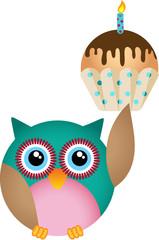 Owl with birthday cupcake