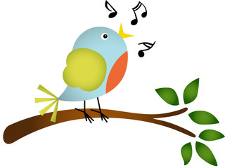 Little bird singing on a tree branch