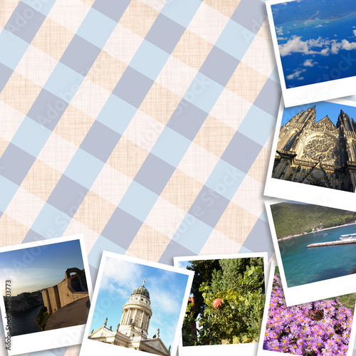 Set of travel photos of Europe on a tartan background