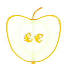 Apple with euro seeds