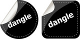 dangle word on black stickers web button set, label, icon
