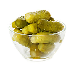 Pickled cucumbers in a plate isolated on white background