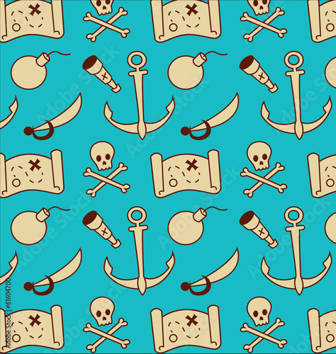 Pirate Ahoy Vector Seamless Pattern Swashbuckle