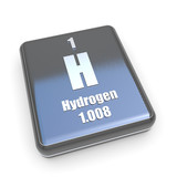 Hydrogen symbol from periodic table on a black box poster