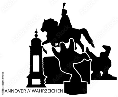 hannover skyline wahrzeichen silhouette wall sticker stickerstudio. Black Bedroom Furniture Sets. Home Design Ideas