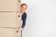 Happy Woman with Brown Carton Boxes