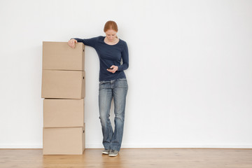 Woman Moving Out and Calling by Phone