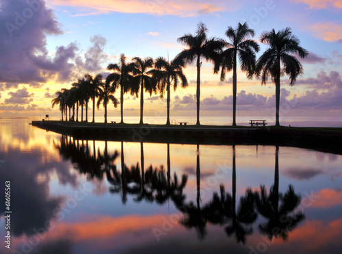 Fotobehang Zonsondergang op het Strand Miami Sunrise