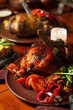Close image of chicken in medieval style on table