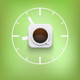 cup of coffee and time vector background.