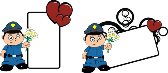 police kid cartoon copyspace hearts and flowers