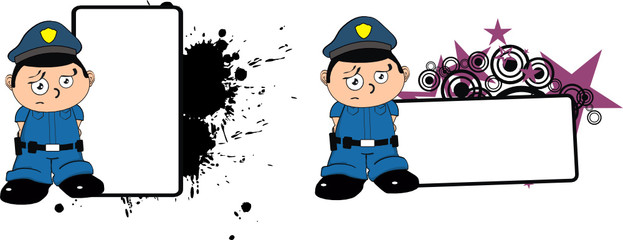 police kid cartoon copyspace sad