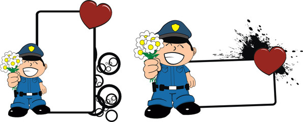 police kid cartoon copyspace flowers