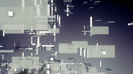 3D rectangles boxes floating, dispersing, generating in space