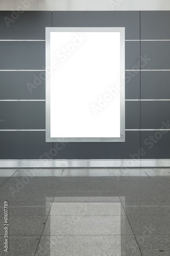 Blank billboard or poster in hall