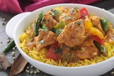 Indian chicken jalfrezi curry with rice
