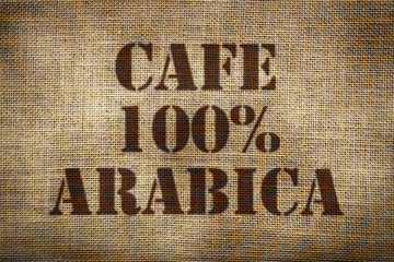 Sack of coffee 100% arabica. Spanish version.