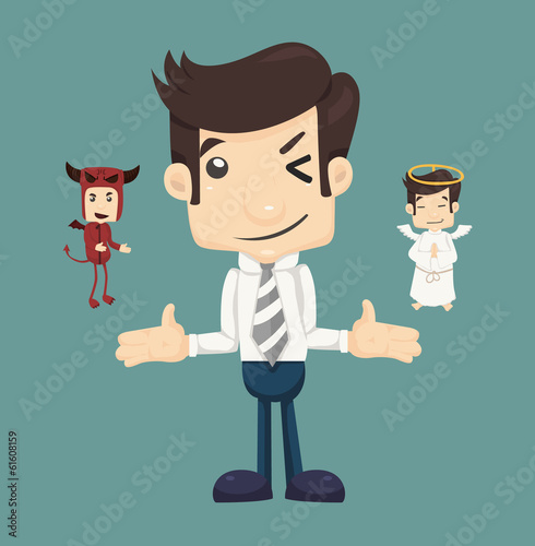 Businessman wills with devil and an angel