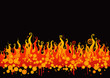 Fire	Vector of  flames on black background