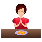 Woman praying during dinner