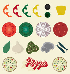 Vector Set: Pizza Toppings Collection