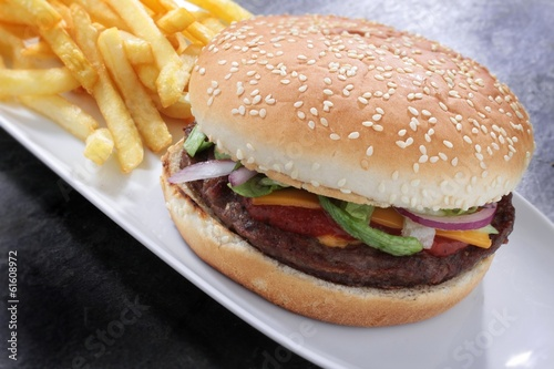 burger in bun with fries
