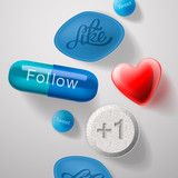 Social media addiction, pills capsules isolated, vector Eps10.
