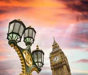Beautiful sky over Big Ben and classic London lamp post
