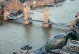 Fototapeta London. Aerial view of Tower Bridge area