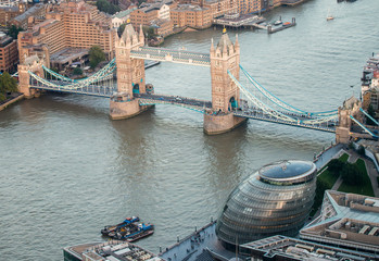 London. Aerial view of Tower Bridge area