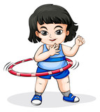 An Asian girl playing with the hulahoop