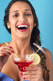 Woman with mixed drink cocktail