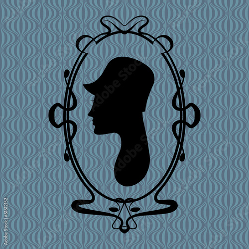 Art deco style woman silhouette portrait in frame