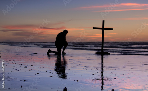 Sunset Beach Prayer Cross