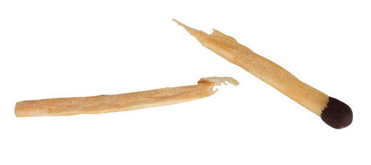broken matchstick isolated on white