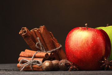 Cinnamon sticks,apples nutmeg and anise