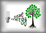 Energy saving bulb with green tree