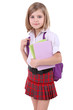 Beautiful little girl with backpack holding books isolated