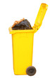 Overflowing yellow recycling bin, clipping path.