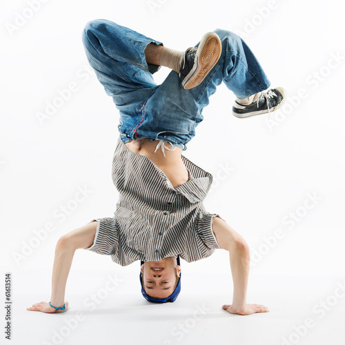 modern dancer posing on white background