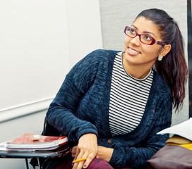latin student girl in classroom