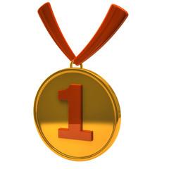 Golden and orange medal award