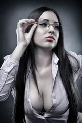 Sexy teacher wearing glasses